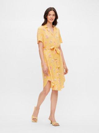 Žluté květované košilové šaty Pieces Trina