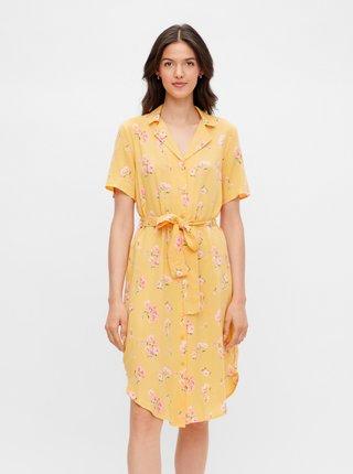 Letné a plážové šaty pre ženy Pieces - žltá
