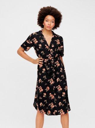 Černé květované košilové šaty Pieces Trina
