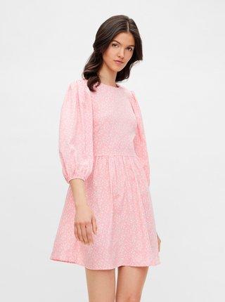 Růžové květované šaty se zavazováním na zádech Pieces Magi