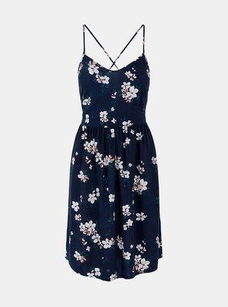 Tmavě modré květované šaty na ramínka Pieces Beauty