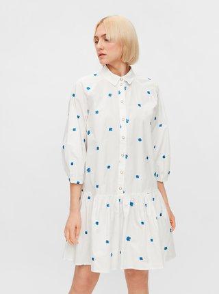 Bílé volné košilové šaty s výšivkou Pieces Nitsi