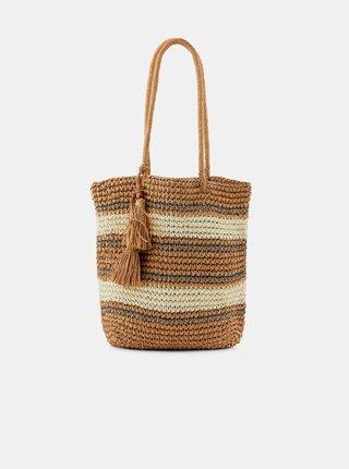 Béžová slaměná taška Pieces Leona