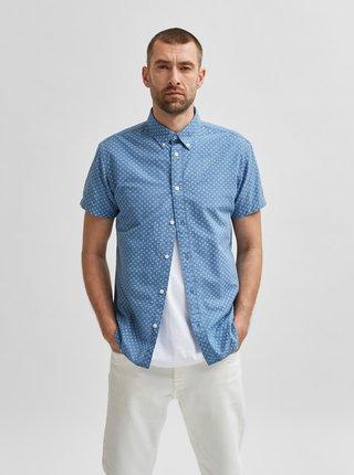 Modrá vzorovaná košile Selected Homme
