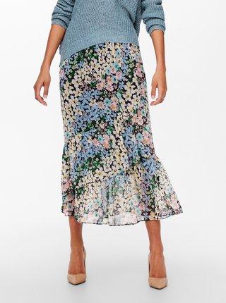 Černo-modrá květovaná midi sukně ONLY Pine