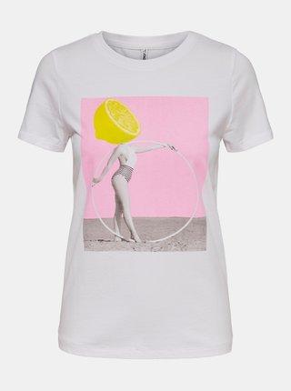 Bílé tričko s potiskem ONLY Violet