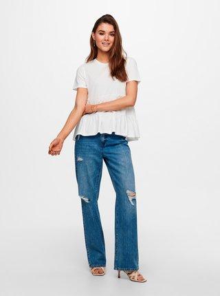 Tričká s krátkym rukávom pre ženy Jacqueline de Yong - krémová