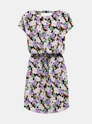 Černo-fialové květované šaty ONLY Connie