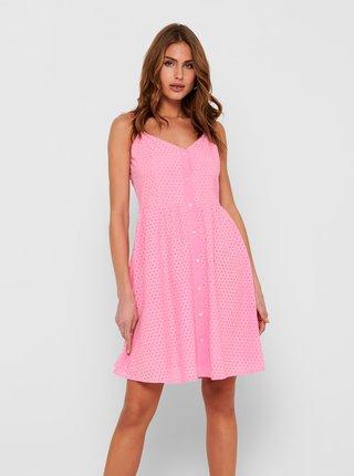 Růžové šaty na ramínka s madeirou ONLY Henry