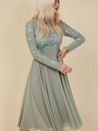 Svetlozelené šaty s ozdobnými detailmi Little Mistress