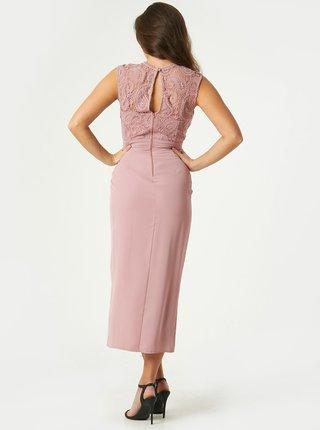 Svetloružové púzdrové šaty s rozparkom Little Mistress