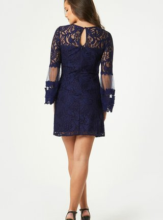 Tmavomodré krajkové šaty Little Mistress
