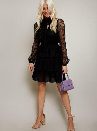Čierne krajkové šaty s volánmi Little Mistress