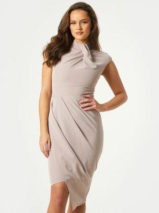 Béžové púzdrové šaty so stojačkom Little Mistress