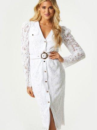 Biele krajkové púzdrové šaty Little Mistress