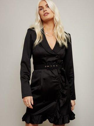 Čierne šaty s gombíky Little Mistress