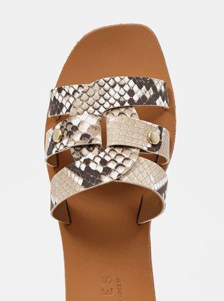 Hnědé vzorované kožené pantofle Pieces Anilla