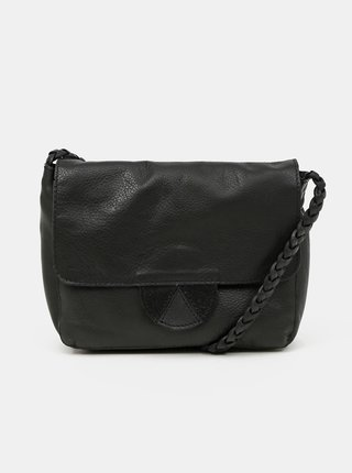 Čierna kožená crossbody kabelka Pieces Lea