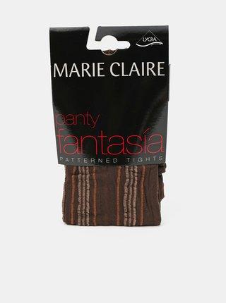 Hnědé vzorované punčochové kalhoty Marie Claire