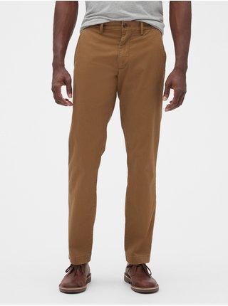Hnědé pánské kalhoty essential khakis in straight fit with GapFlex