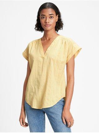 Žlutý dámský top print v-neck