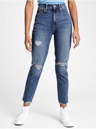 Modré dámské džíny GAP high rise destructed cigarette jeans with Washwell