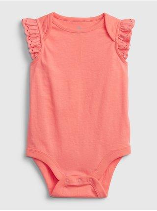 Oranžové holčičí baby body 100% organic cotton mix and match eyelet bodysuit