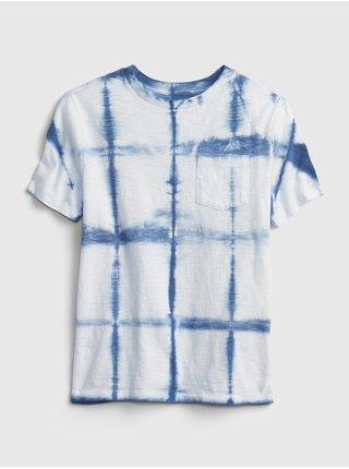Modré klučičí dětské tričko pocket wash effect t-shirt