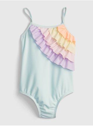 Modré holčičí dětské plavky rainbow swimsuit