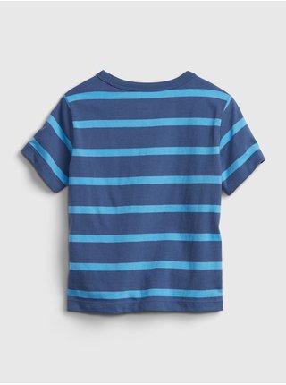 Modré klučičí dětské tričko GAP Logo stripe t-shirt