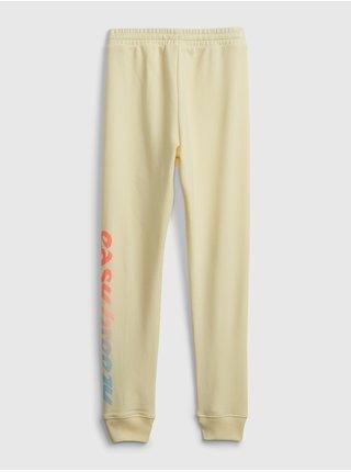 Žluté holčičí dětské tepláky GAP Logo pull-on joggers