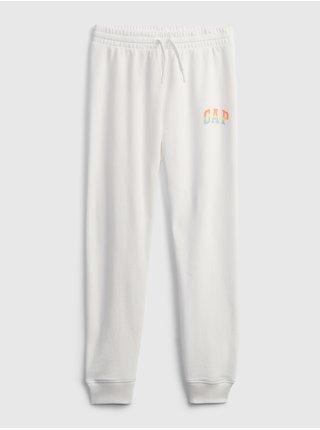 Bílé holčičí dětské tepláky GAP Logo pull-on joggers