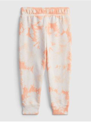 Oranžové holčičí dětské tepláky GAP Logo tie-dey joggers