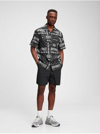 Černá pánská košile short sleeve camp collar