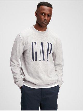 Šedá pánská mikina GAP Logo fashion corp crew