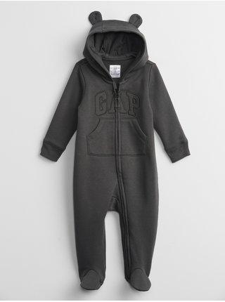 Černý holčičí baby overal GAP Logo hoodie one-piece