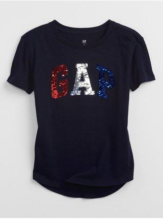 Modré holčičí dětské tričko GAP Logo flippy sequin t-shirt