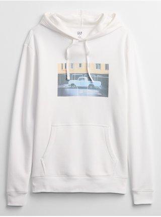 Bílá pánská mikina graphic hoodie