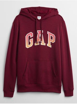 Červená pánská mikina GAP Logo arch hoodie