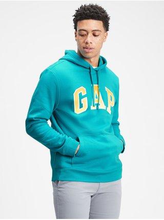 Modrá pánská mikina GAP Logo arch hoodie