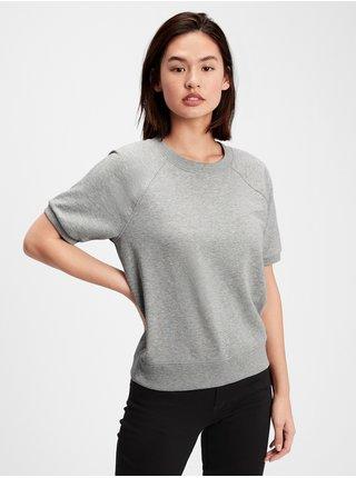Šedé dámské tričko fleece short sleeve crewneck sweatshirt