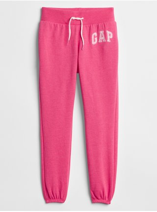 Růžové holčičí dětské tepláky GAP Logo fleece pants