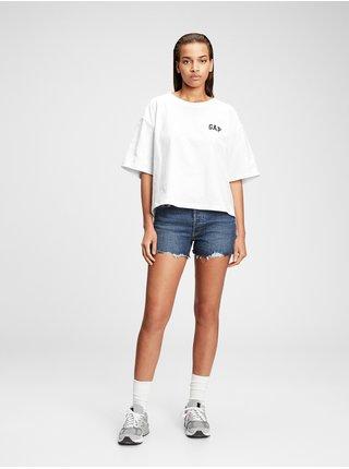 Bílé dámské tričko GAP Logo boxy step hem t-shirt