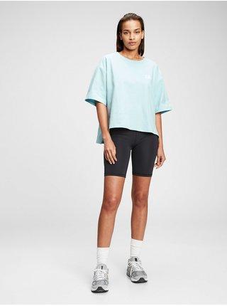 Modré dámské tričko GAP Logo boxy step hem t-shirt