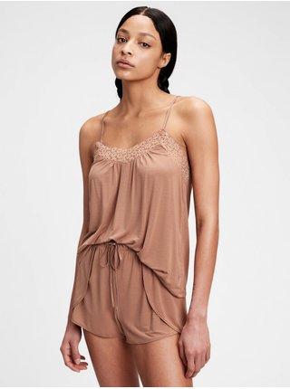 Hnědé dámské pyžamový top GAP adult truesleep tencel modal lace cami