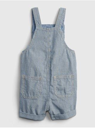 Modré klučičí baby kraťasy s laclem seersucker overalls