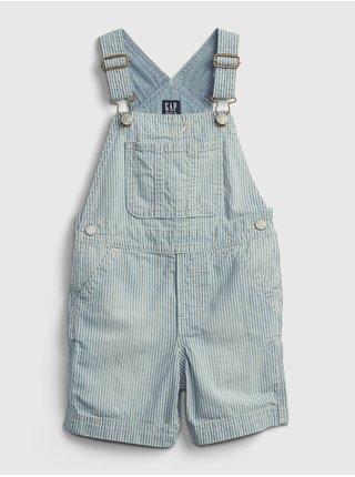 Modré klučičí dětské džínové kraťasy s laclem shortall denim