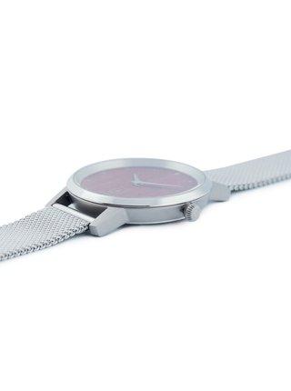 Dřevěné hodinky Diamond Red Watch s řemínkem z pravé kůže