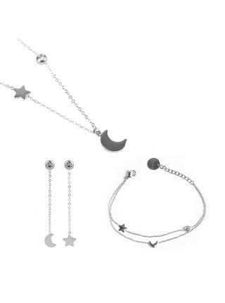Sada šperků ve stříbrné barvě Vuch Trio of infinity Silver