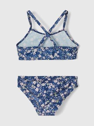 Modré holčičí květované dvoudílné plavky name it Felisia